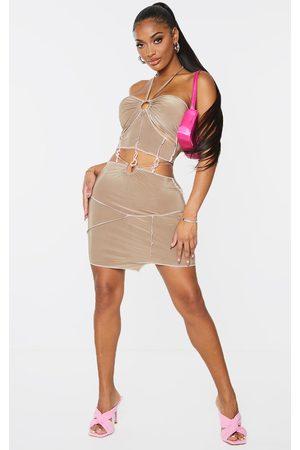 PRETTYLITTLETHING Shape Soft Slinky Overlock Ring Detail Bodycon Skirt