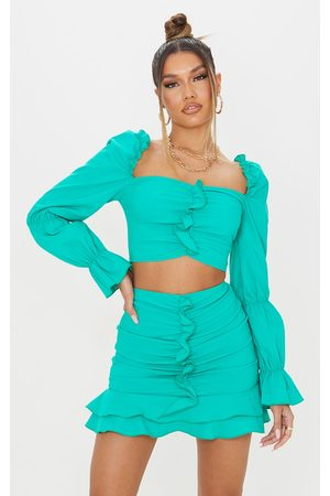 PRETTYLITTLETHING Bright Woven Stretch Frill Ruched Front Long Sleeve Crop Top