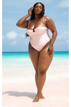 PrettyLittleThing Plus Pearl Strap Underwired Swimsuit