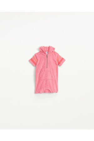 Splendid Girls Onesies - Infants Infant Girl Terry Zip-Up Onesie Rose Geranium - Size 3m-6m