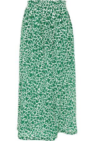 Être Cécile Être Cécile Woman Pleated Printed Silk Crepe De Chine Midi Skirt Size 34