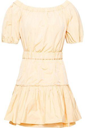 Maje Woman Off-the-shoulder Gathered Taffeta Mini Dress Pastel Size 34