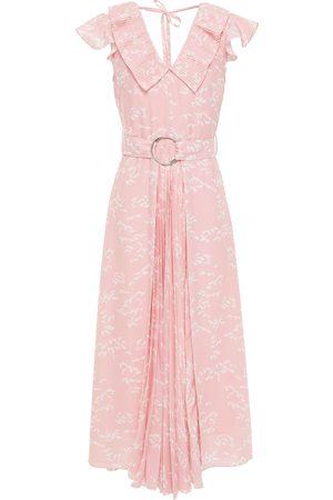 Markus Lupfer Woman Diana Ruffled Printed Crepe De Chine Midi Dress Baby Size 10