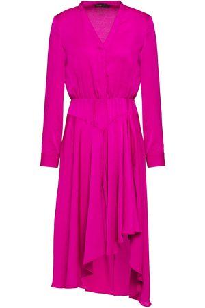 Maje Woman Rushia Asymmetric Ruffled Satin-crepe Dress Fuchsia Size 1