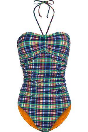 Ganni Woman Ruched Checked Stretch-seersucker Halterneck Swimsuit Size 32