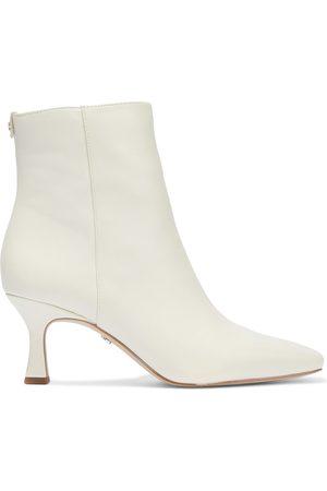 Sam Edelman Woman Lizzo Leather Ankle Boots Ecru Size 10