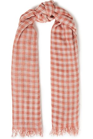 CHAN LUU Woman Frayed Checked Cashmere And Silk-blend Gauze Scarf Size