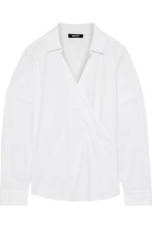 DKNY Woman Wrap-effect Cotton-poplin Top Size L