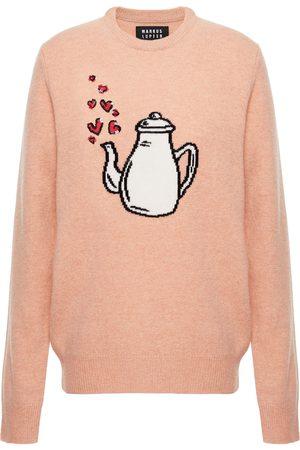 Markus Lupfer Woman Sequin-embellished Intarsia Merino Wool Sweater Blush Size M