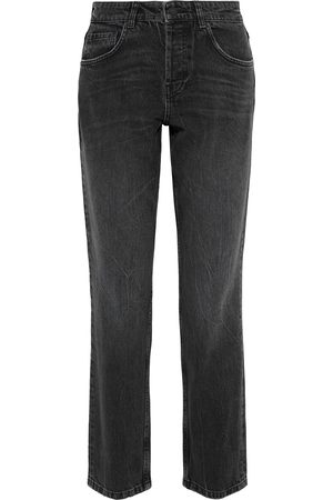 ANINE BING Woman Kate Crinkled High-rise Straight-leg Jeans Charcoal Size 23
