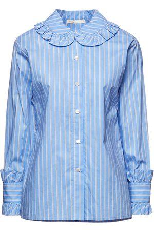 Maje Woman Calia Ruffled Striped Cotton-poplin Shirt Light Size 1