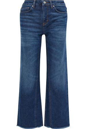 Maje Woman Pamier Frayed High-rise Wide-leg Jeans Mid Denim Size 34
