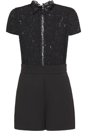 Maje Woman Ilo Ruffle-trimmed Lace And Crepe Playsuit Size 34