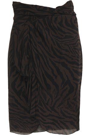 Bash Woman Scarlette Wrap-effect Ruched Zebra-print Georgette Skirt Dark Size 0