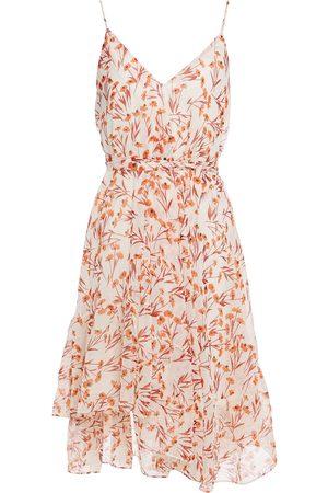 Maje Woman Risota Belted Metallic Floral-print Gauze Mini Dress Ecru Size 36