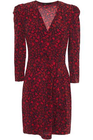 Maje Woman Rapita Wrap-effect Floral-print Crepe Mini Dress Size 36