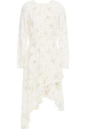 Maje Woman Reto Asymmetric Printed Washed-cupro Dress Ivory Size 36
