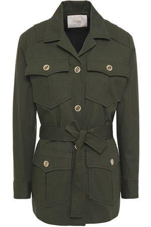 Maje Woman Guesna Cotton-blend Gabardine Jacket Army Size 36