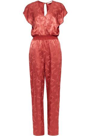 Maje Woman Pera Wrap-effect Satin-jacquard Jumpsuit Brick Size 34