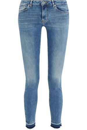 Maje Woman Distressed Low-rise Skinny Jeans Mid Denim Size 34