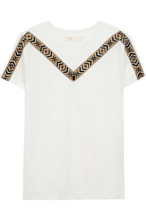 Maje Woman Toblo Embellished Jacquard-trimmed Linen-jersey T-shirt Ivory Size 1