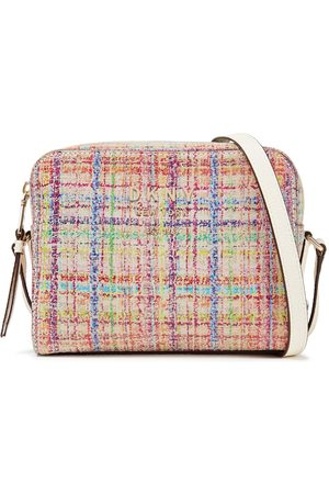 DKNY Woman Noho Leather-trimmed Printed Suede Shoulder Bag Size