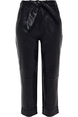 Walter Baker Woman Zoey Cropped Belted Leather Straight-leg Pants Size L