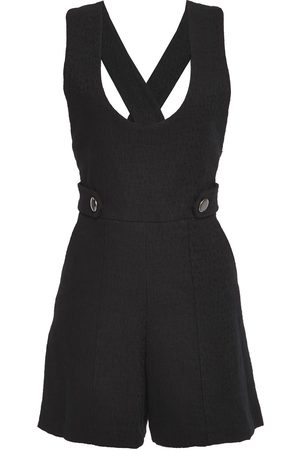 Vanessa Bruno Woman Cutout Button-embellished Cotton-blend Tweed Playsuit Midnight Size 34