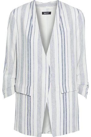 DKNY Woman Striped Woven Blazer Ecru Size L