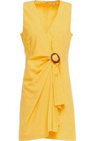 RONNY KOBO Woman Lorenza Draped Tencel And Linen-blend Mini Dress Saffron Size M