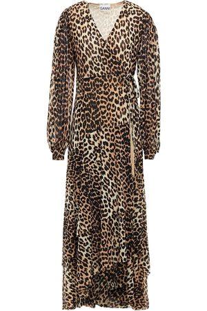 Ganni Woman Leopard-print Stretch-mesh Midi Wrap Dress Animal Print Size 34