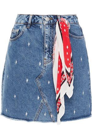 Maje Woman Jianki Printed Denim Mini Skirt Mid Denim Size 38
