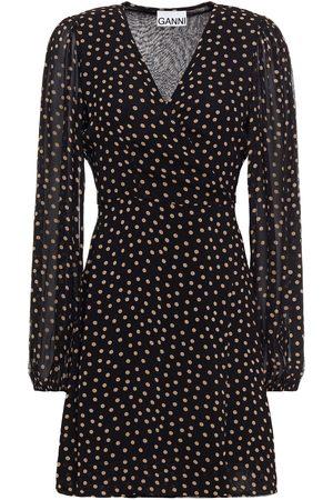 Ganni Woman Polka-dot Georgette Mini Wrap Dress Size 32