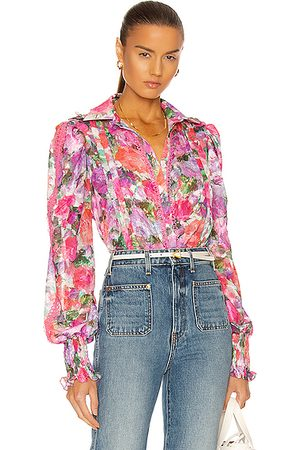 PATBO Blossom Button Front Blouse in