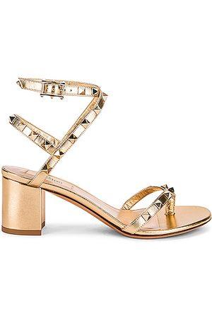 VALENTINO GARAVANI Rockstud Thong Sandals in Metallic