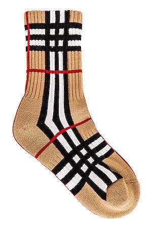 Burberry Vintage Check Crew Socks in Tan