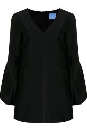 Macgraw Women Mini Dresses - Puff-sleeve V-neck minidress