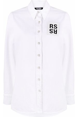 RAF SIMONS Women Denim - Logo patch denim shirt