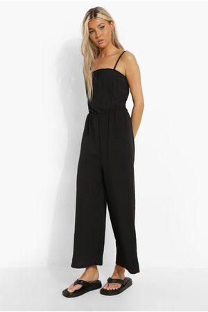 Boohoo Womens Tall Linen Look Cami Culotte Jumpsuit - - 2