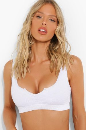 Boohoo Womens Crinkle Fuller Bust Notch Neck Bikini Top - - 34Dd