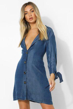 Boohoo Womens Denim Tie Cuff Button Down Blazer Dress - - 2