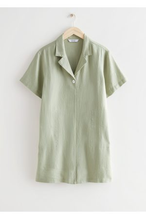 & OTHER STORIES Relaxed Collared Linen Mini Dress