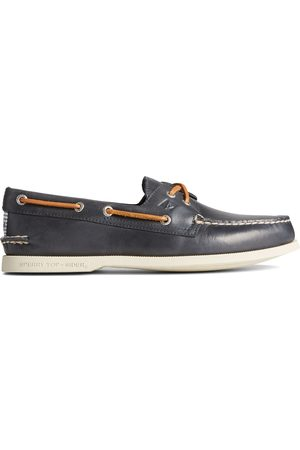 Sperry Top-Sider Men Loafers - Men's Sperry Authentic Original Cross Lace Washed Stripe Boat Shoe Navy, Size 7M