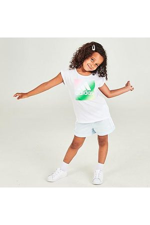 adidas Girls' Toddler and Little Kids' Badge Of Sport Boxed Logo Graphic T-Shirt and Shorts Set Size 2 Toddler 100% Cotton/Polyester/Knit