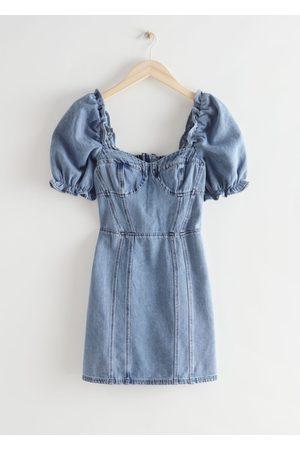 & OTHER STORIES Women Party Dresses - Puff Sleeve Denim Mini Dress