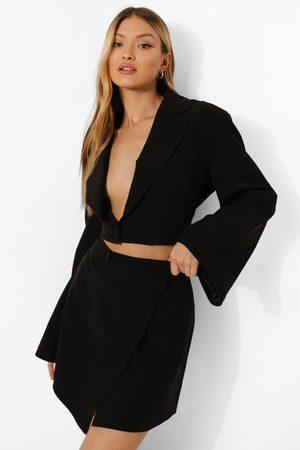 Boohoo Womens Flared Sleeve Cropped Tailored Blazer - - 4