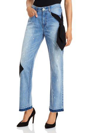 HELLESSY Jefferson Paint Splatter Boyfriend Jeans in Medium Wash