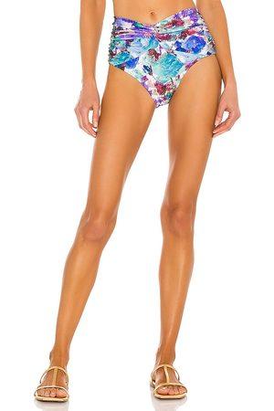 PATBO Blossom Ruched Bikini Bottom in Blue.