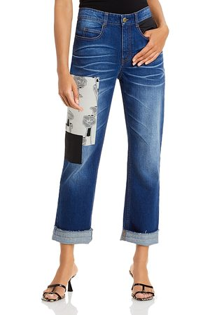 HELLESSY Women Boyfriend Jeans - Montgomery Patched Boyfriend Jeans in Dark Wash