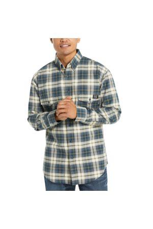 Wolverine Men Long sleeves - Men's FR Plaid Long Sleeve Twill Shirt - 3X Navy Plaid, Size L